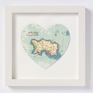 Jersey Map Heart Print - posters & prints