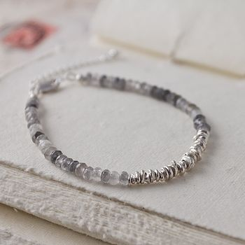 Grey Quartz And Silver Bracelet