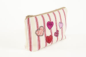 Embroidered Heart Make Up Bag - make-up bags
