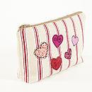 Embroidered Heart Make Up Bag