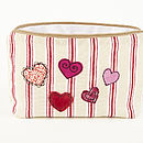 Embroidered Heart Make Up Bag