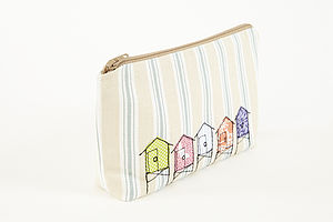 Embroidered Beach Hut Make Up Bag