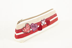 Embroidered Heart Pencilcase - glasses cases