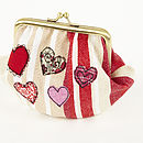 Embroidered Heart Metal Frame Purse