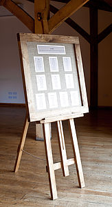 Oak Framed Wedding Seating Plan - table decorations