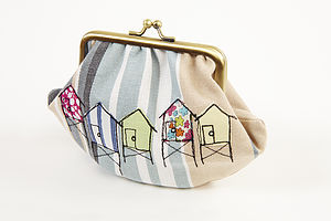 Embroidered Beach Hut Metal Frame Purse