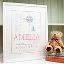 Personalised Girls Baby And Child's Print