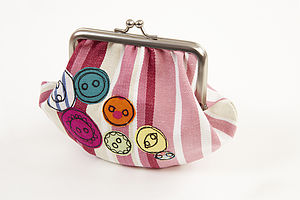 Embroidered Button Metal Frame Purse