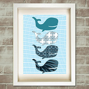 Blue Whales Nursery Art Print