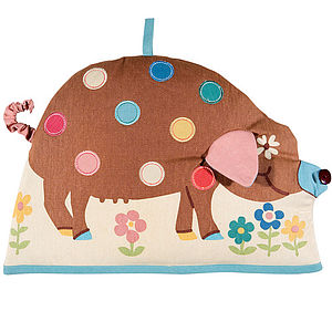 Spotty Pig Tea Cosy & Tea Towel Set - egg cups & cosies