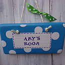 spotty door sign_peacock blue & royal purple