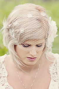 Flower Birdcage Veil - hair accessories