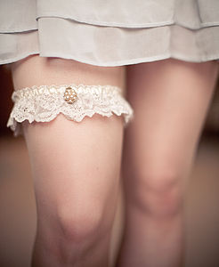 Anabella Vintage Lace And Pearl Jewel Wedding Garter