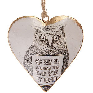 'Owl Always Love You' Heart Decoration - hanging decorations