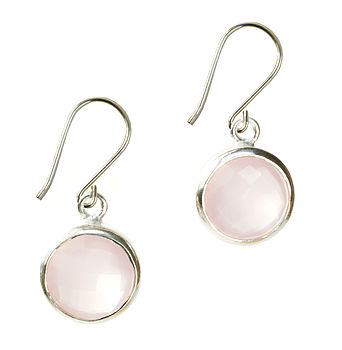 Gem Drop Earrings Pink Chalcedony And Silver