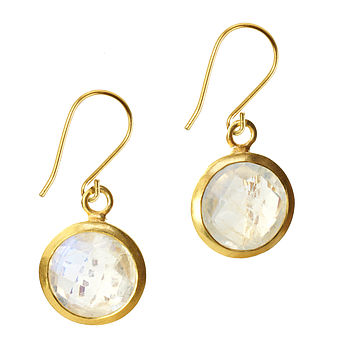 Gem Drop Earrings Moonstone And Gold