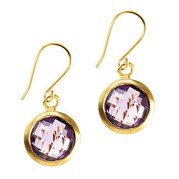 Gem Drop Earrings Amethyst And Gold