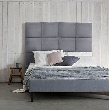'Beatrice' Panelled Headboard Upholstered Bed