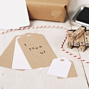 Pack Of 10 Brown Gift Tags - ribbon & wrap