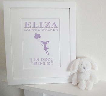 Personalised New Baby Girl Birth Print