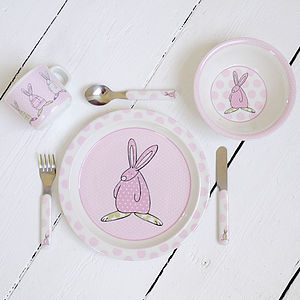 Rufus Rabbit Girls Melamine Gift Set