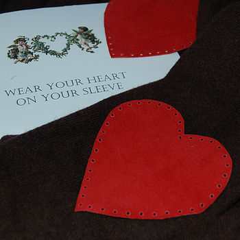 Red Heart Shaped Suede Elbow Patches