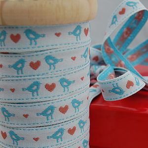 Bird And Heart Woven Ribbon 20m Roll - cards, ribbon & wrap