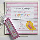 Girls Personalised Birth Announcement Cards