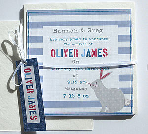 Boy's Personalised Birth Announcement Cards - new baby & christening cards