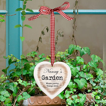 Personalised Solid Wood Heart Hanging Sign