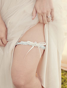 Evelyn Blue And Beaded Lace Flower Wedding Garter - bridal lingerie