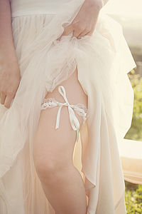Brigitte Lace Tie Wedding Garter Choose Your Colour - wedding fashion