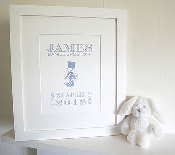 Personalised New Baby Boy Birth Print