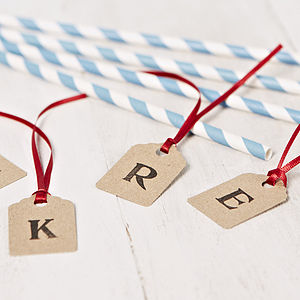 Personalised Initial Brown Gift Tag - wedding favours