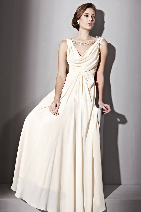 jeweled cowl neck wedding dress by elliot claire london ...