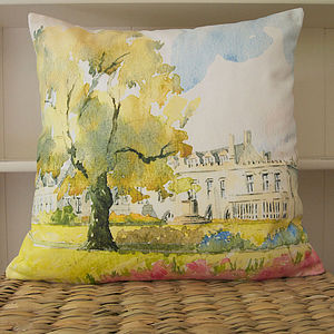 Bespoke Watercolour House Cushion Cover