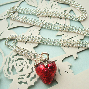 Strawberry Charm Necklace In Gold Or Silver - women's jewellery