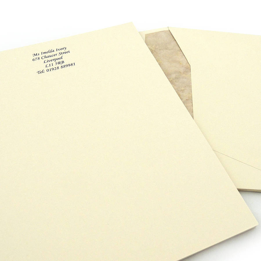 Personalised headed writing paper