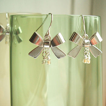 Silver Bow And Bead Dangling Earrings