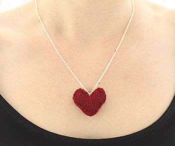 Hand Knitted Valentines Heart Necklace