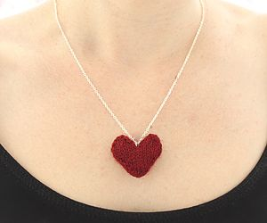 Hand Knitted Valentines Heart Necklace - necklaces & pendants