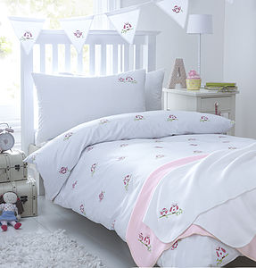 Pink Owls Embroidered Bedding