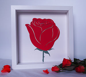 Single Red Rose Papercut