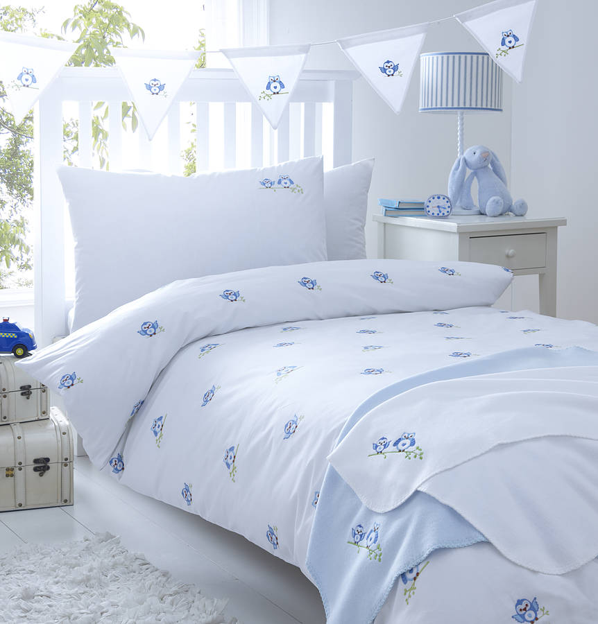 Blue Owls Embroidered Bedding By The Fine Cotton Company