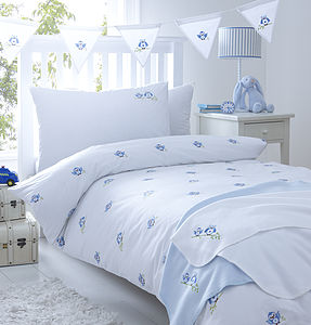 Blue Owls Embroidered Bedding - cot bedding