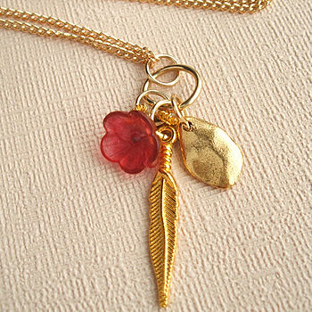 Long Gold Feather And Pebble Necklace