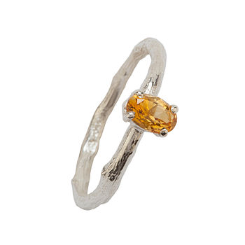 November Birthstone Silver And Citrine Ring