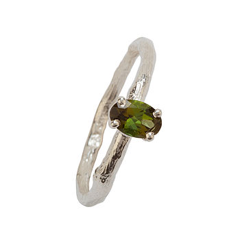 Silver And Green Tourmaline Ring