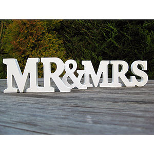 'Mr & Mrs' White Wooden Letters - decorative accessories
