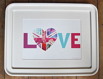 Love Flower Union Jack Heart Print